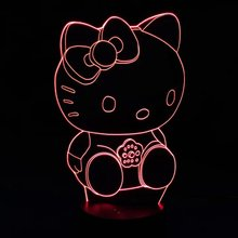 Kitty 3D Lamp 7Colors Changing LED Night Light Touch Change Colors Decorative Table Lamp for Kids Bedroom Sleep Lamp Girl Gift(China)