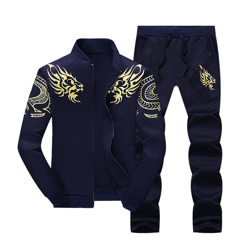 Spring and autumn new mens running sports set large size zipper jacket trousers Korean style youth trend jacket middle school s<br>
