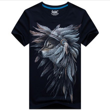 Summer the new men's cotton short sleeve T-shirt 2017 men's 3 d printing plus-size half sleeve be afraid Wolf brand clothing