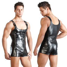 Excellent New Fashion Men Sexy PU Leather Bondage Bodysuit Fetish Gay Male Clubwear Catsuit Front Zipper Jockstrap Lingerie XXL(China)