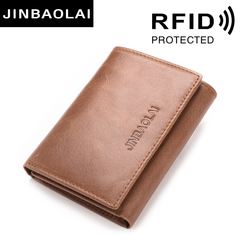RFID Genuine Leather Wallets 3 Fold Soft Male Purse 2 Color Cow Leather Handmade Wallets Credit Card Holder Carteira Purses Bags(China)