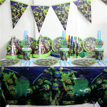 130pc Ninja Turtles Plastic Movie Tablecover Plates Cups Cartoon Napkins Birthday Party Wedding Party Decor Supplies Baby Shower
