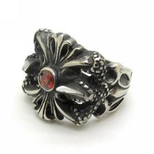 Vintage Gothic Carved Flowers Finger Ring Rock Punk Style Stainless Steel High Quaity Men red crystal Fleur de lis Charm Jewelry(China)