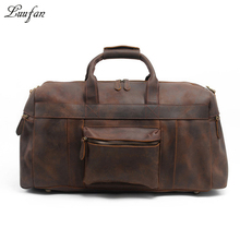 Men's Crazy horse leather travel duffel 24 inch Brown genuine leather travel bag Big vintage cow leather Boston Weekend tote bag(China)