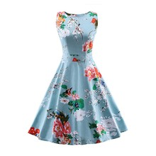 S-4XL Best selling products 2017 summer plus size dress women rockabilly clothing vintage print vestidos de dama casuales A003(China)