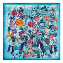 Mosoga High Quality Twill Silk Women Scarf New Autumn Winter Big Square Handkerchief Fashion Animal Pattern Floral Pashmina Blue(China)