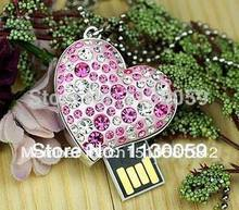 Usb Stick 100% real capacity 4GB 8GB 16GB 32GB heart diamond necklace usb keys ring USB flash drives 28 % off Pen driveS48