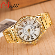 Hot Luxury YBotti Fashion Men Women Ladies Watches Crystal Gold Stailess Steel Roman Numerals Analog Quartz Wrist Watch ZD-10