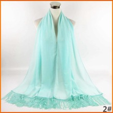 Plain Pearl Bubble Chiffon Shawl Hijab Scarf Abaya Niqab Islamic Muslim Dubai Cheap Scarves with Tassels can67(China)