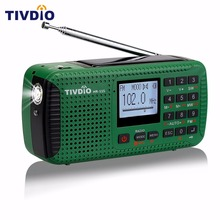 TIVDIO HR-11S Digital Recorder Portable FM/MW/SW Hand Crank Solar Emergency Alert Radio Station Bluetooth Music Player F9208G