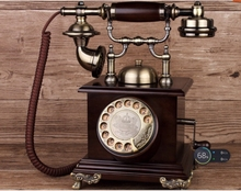 Retro ringing tones antique telephone american vintage household oak rotating Dial the number telephone(China)
