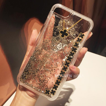 Luxury Clover Liquid Glitter meteor sand sequin Dynamic Hard Shell+soft silicone Mobile Phone cases For iphone 6 6S plus 7 7plus