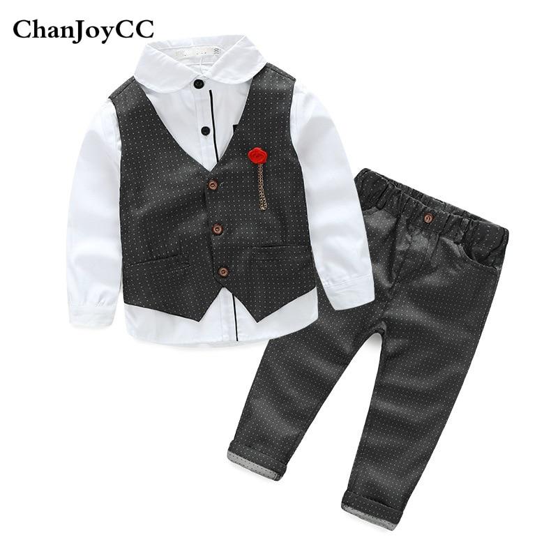 Spring Autumn boys gentleman baby set kids fashion comfortable cotton vest + shirt + pant three-piece high quality suit<br>
