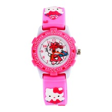 Hot Selling Hello Kitty 3D Cartoon Watch Soft Jelly Quartz Wristwatches Girls Baby silicone Watches Waterproof plastic shell