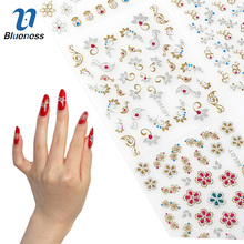 24 Sheet Beauty Mixed Design Bronzing Colorful Foil Nail Art Sticker Decals 3D Manicure Stamping Stickers For Nails Tips