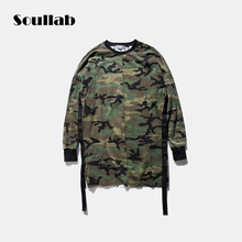 Long sleeve quality fashion men top tee tshirt t-shirt t shirt kanye west camo camouflage hip hop swag skate brand-clothing tyga(China)