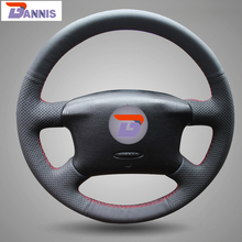 BANNIS Black Artificial Leather DIY Hand-stitched Steering Wheel Cover for Volkswagen Passat B5 VW Passat B5 VW Golf 4
