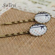 SUTEYI Fashion Blue Bowknot red glass cabochon print hair clips for girls Accessories navy brown hair Vintage sea handmade jewel