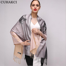 CUHAKCI Women Tassel Scarf Long Scarves Floral Shawls Wrap Ladies Fashion Elegant Large Shawl Brand Design Quality Winter Autumn