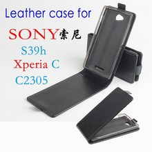 100% High Quality Leather Case For SONY Xperia C / S39h / C2305 Flip Cover Case housing for XperiaC / S 39H / C 2305 phone Cases