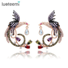 LUOTEEMI Teemi Jewelry Unique Design Luxury Rose Gold Color Multi Cz Micro Pave Setting Phoenix Bird Stud Earrings For Women(China)
