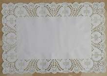 10*14.5 inches Rectangle White lace Paper Doilies Mat Grease-proof Pad Doyleys For Cake Cookie Biscuit(China)