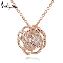 Iutopian Christmas Gift Elegant Ferris Rose Flower Pendant Necklace With Top Quality Austrian Stellux Zirconia #RG76699(China)
