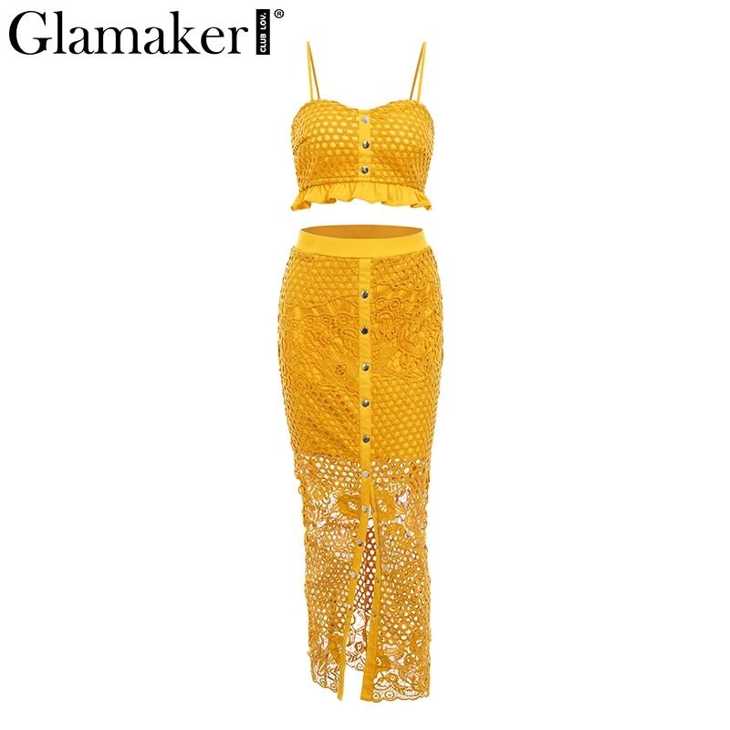 Glamaker Hollow out sexy yellow long dress Women lace ruffle button sundress Bodycon summer party dress night vestidos de festa 3