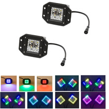 Nicoko Flushmount 12W LED Work Light Led lights with Chasing RGB Halo over 72 Modes Offroad Light Bar 12v24v Trucks SUV ATV UTV