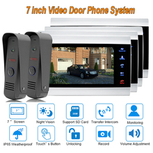 "2017 new Video Door Intercom Doorbell System Home Security Camera Monitor with ip65 Rainproof 7"" TFT display 1200TVL 2 V 4(China)"