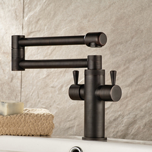 Brass Foldable  Kitchen Taps Black Dual Handle Hot & Cold Water Kitchen Sink Faucet with Ceramic Plate Spool