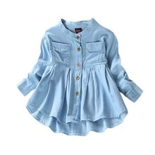 Children Long Sleeve Denim Girl Jean Blouses Clothing Autumn Fashion Baby Girls Jeans Shirts(China)
