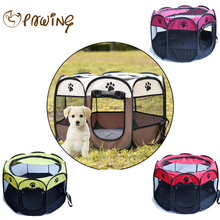 PAWING Pet tent Dog House Cage Dog Cat Pet Tent Portable Playpen Dog Folding Crate Doghouse Puppy Pen Soft Kennel New Cat Cage(China)