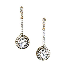 Luxurious Clear Earrings Long Well Suited Glass Made Gold Color For Women Elegant Stud Jewelry(China)