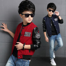 Boys Coat Polyester Faux Leather Casual Children Hoodies Brand Autumn Teenage Boys Jackets Patchwork Letter Kid Clothes For Boys(China)