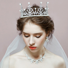 Vintage Queen Crown Pearl Wedding Jewelry Sets Princess Tiara Necklace Earrings Bridal Accessories Choker Collar for Party Show