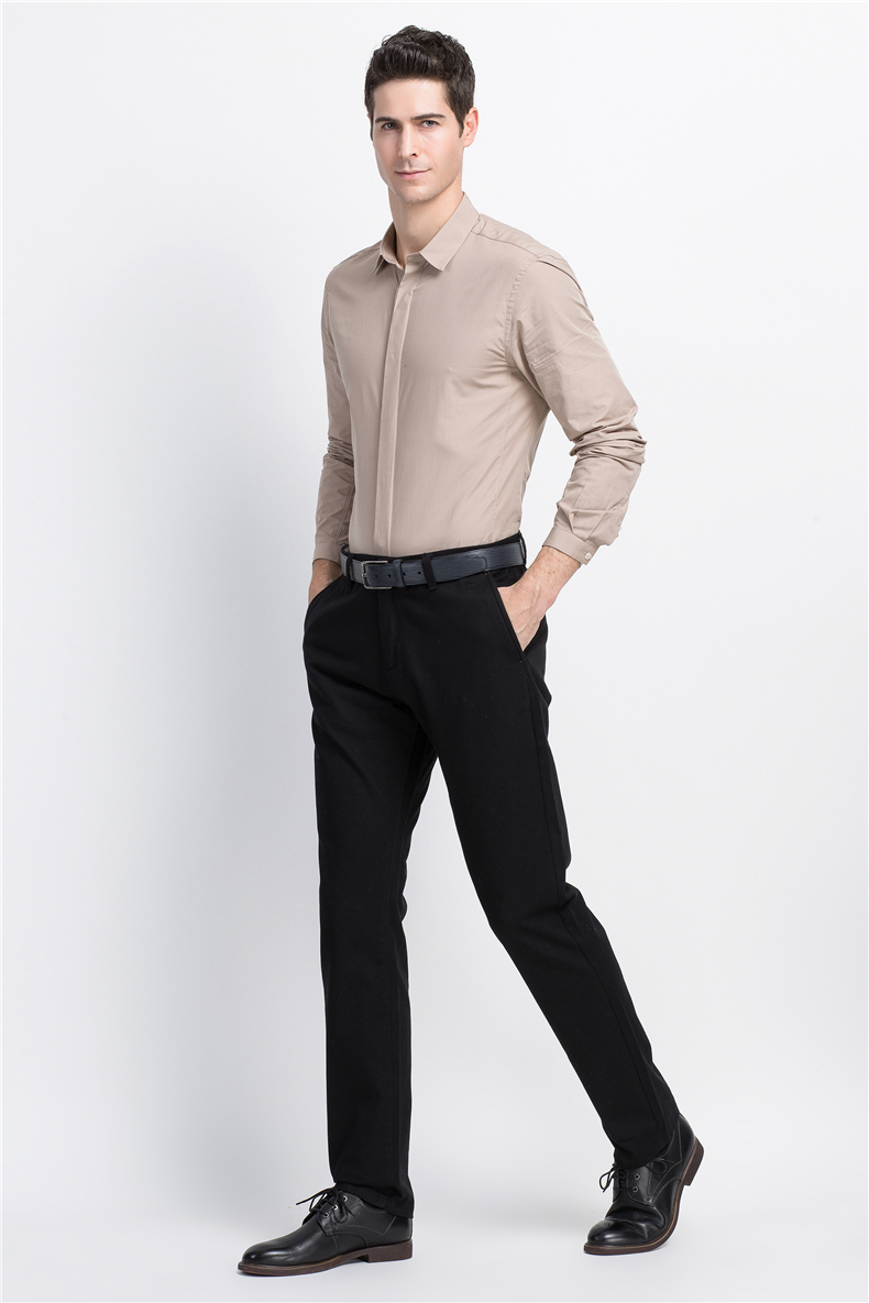 Spring Solid Mens Casual Pants Cotton Stretch Black Mens Slim Fit Long Trousers Fashion Zipper Fly High Quality Brand Clothing 8