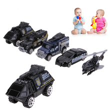 5pcs 1:64 Scale Alloy Police Car Models Children Plastic Pull Back Car Toy Gift Set for Kids Playing