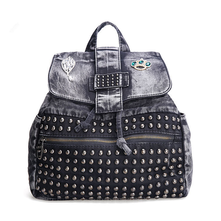 Rivet black drawstring women backpack designer high-grade denim cloth bags large capacity casual ladies backpacks borse da donna<br>