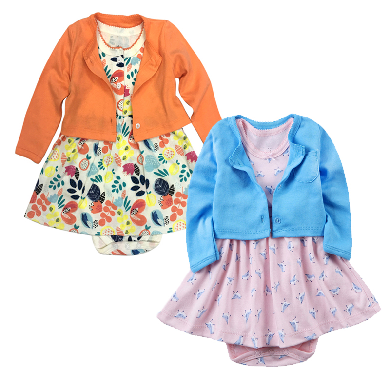 Baby Clothing baby Girls Regular Casual Print Baby Clothes 2018 New Fashion Cotton Sets for Bebes 2pcs/Set O-Neck coat+Dresses <br>