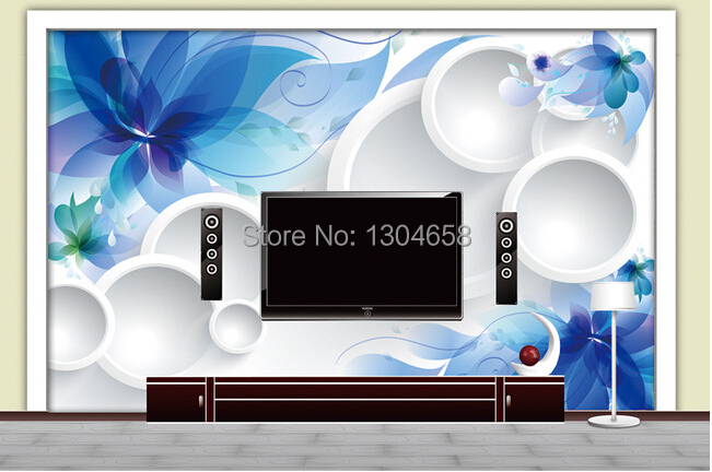 Custom 3 d contemporary and contracted mural , abstract flower circle wallpaper, sitting room, bedroom, TV wall papel DE parede <br>