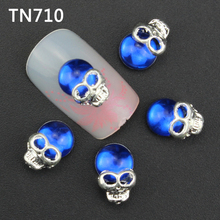 Blueness 10Pcs Blue 3D Nail Art Skull Decorations with Rhinestones,Alloy Nail Charms,Jewelry On Nails Salon Supplies TN710