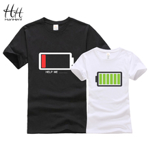 HanHent Battery Design Couples T shirt 3D Sisters Tshirts Fashion Brothers T-Shirts With Cotton Men Tees Tops Women Clothing(China)
