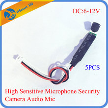 DC 6-12V High Sensitive Microphone Security Camera Audio Mic DC Power Cable Wide Range Microphone For CCTV Cameras DVR Systems(China)