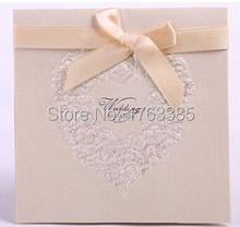 Set of 20 Embossed Rosette Love Heart Wedding Invitation With Satin Bows Party Invite Wedding Cards