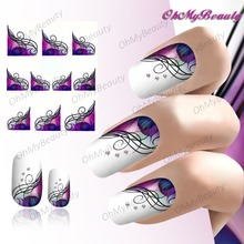 2 pcs Brilliant Purple Nail Water Sticker Half Wraps French Nail Art Decals t Manicure Nail Stickers Tip Decoration Tools(China)