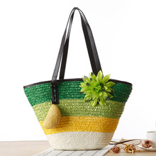 New Beach Bags Women Woven Straw Handbags Summer Fashion Big Ladies Hand Bags 2017 Large Women'S Shoulder Bag Flower Zipper