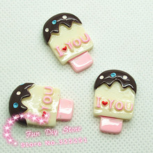 resin ice cream stick flat back cabochon dessert candy for ornament 50pcs 18*28mm(China)