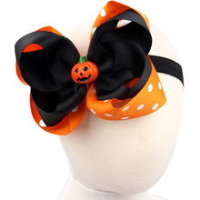 1PCS  girl Pumpkin embroidered personalized outfit headband first halloween thanksgiving Todderl ribbon bow Photo Prop W50