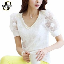 Beading Lace Blouse Women Short Sleeve Top Office Clothes 2017 Korean Style Summer Elegant Pearl V-neck Lady Shirt Female Blusa